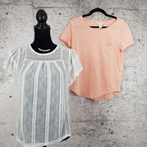 H&M Lace Top and Peach Tee Bundle Small